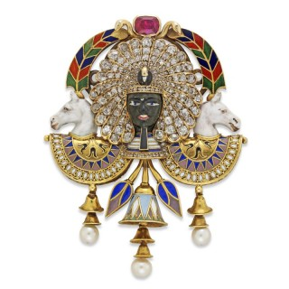 Highly Important Carlo Giuliano Egyptian Revival Brooch