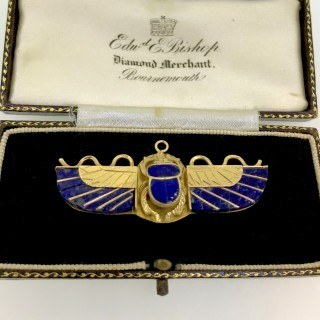 Art Deco Gold Egyptian Scarab Brooch