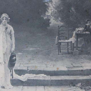 An Unusual Large c.1900-10 Framed Print of a Failed Marriage Proposal
