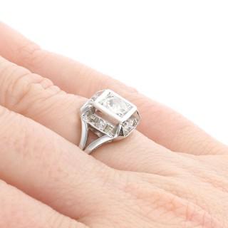 1.26 ct Diamond and Platinum Cluster Ring - Antique French Circa 1930