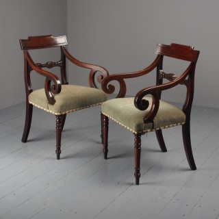 Pair of Late Georgian Mahogany Armchairs