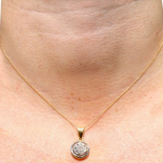 0.35 ct Diamond and 18 ct Yellow Gold Pendant - Antique Circa 1920