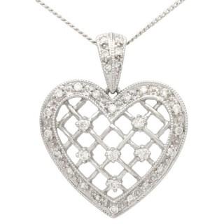0.28 ct Diamond and 18 ct White Gold Heart Pendant - Vintage Circa 1960