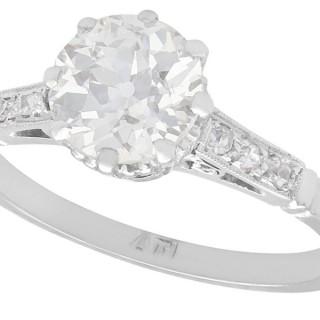 1.08ct Diamond and Platinum Solitaire Ring - Antique Circa 1930