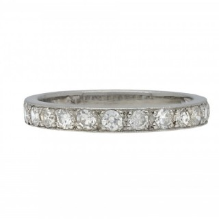Vintage diamond half eternity band, circa 1950.