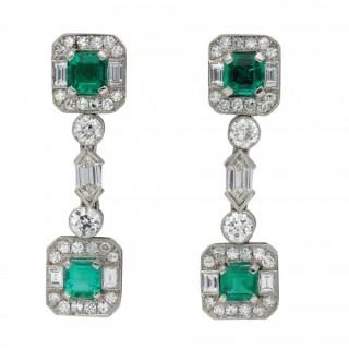 Art Deco Colombian emerald and diamond drop earrings, circa 1925.