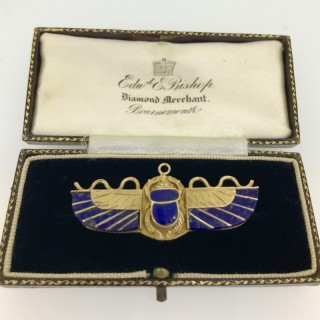 Art Deco Period Gold Egyptian Scarab Brooch