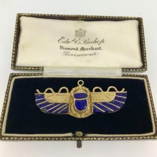 Art Deco Period Gold Egyptian Scarab Brooch