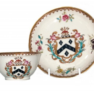 Chinese Armorial Tea Bowl and Saucer - Qianlong