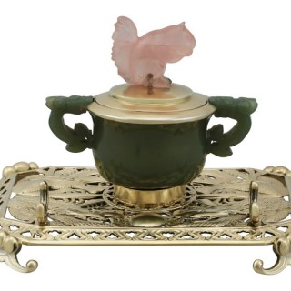Sterling Silver, Nephrite and Rose Quartz Inkstand - Antique George V (1926)