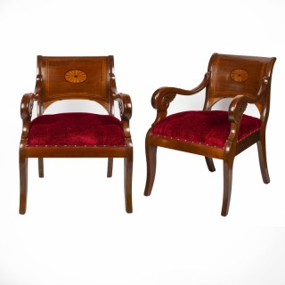 Pair of mahogany armchairs, Danish, circa 1860.