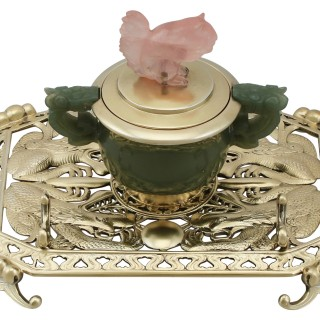 Sterling Silver, Nephrite and Rose Quartz Inkstand - Antique George V (1926)