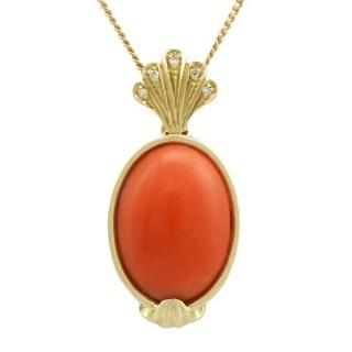 7.27 ct Coral and Diamond, 18 ct Yellow Gold Pendant - Vintage Circa 1950