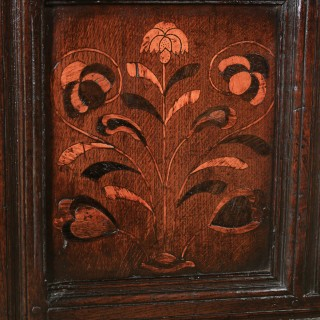 Antique English 17th Century Charles II Oak Inlaid Triple Panel Yorkshire Coffer (Circa 1680)