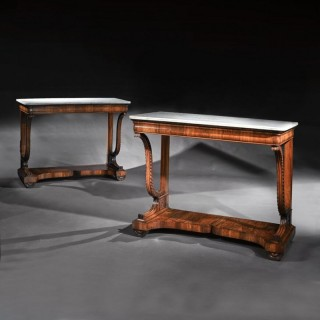 Pair Of Early 19th Century Italian Walnut And Marble Top Console Tables