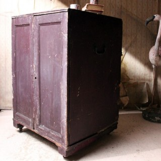 An 18thC Estate Made Plum Painted Pine Cupboard c.1780