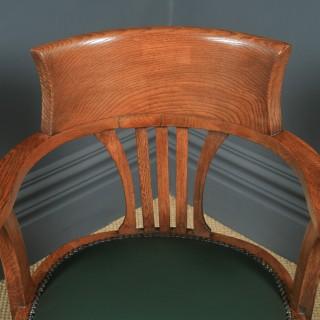 Antique English Edwardian Oak & Green Leather Revolving Office Desk Arm Chair (Circa 1910)