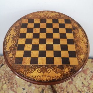 VICTORIAN BURR WALNUT MARQUETRY CHESS TABLE