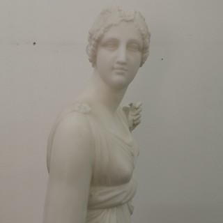 19TH CENTURY GRAND TOUR MARBLE CLASSICAL MAIDEN WITH HARP