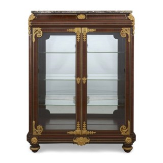 Neoclassical style gilt bronze mounted mahogany vitrine by Mercier Frères