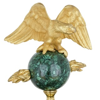 Neoclassical style French malachite and gilt bronze mantel clock