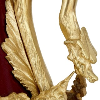 Pair of French Neoclassical style red tôle and gilt bronze vases
