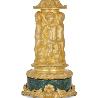 Two Neoclassical early 19th century malachite and gilt bronze candelabra