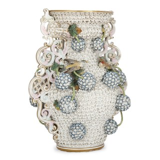 Pair of porcelain Rococo and Meissen style Schneeballen vases