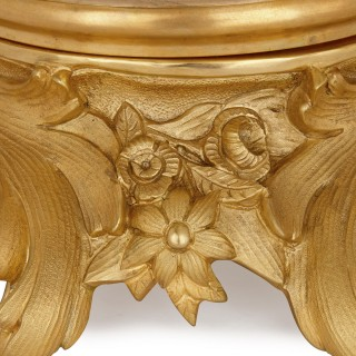 Two French Rococo style glass and gilt bronze bowls