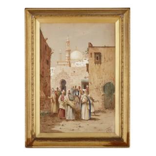 Figurative 19th Century Orientalist watercolour painting by Henry Stanton Lynton