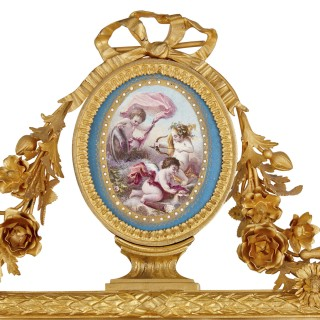 Rococo style porcelain and gilt bronze table mirror by Hautin Boulenger & Cie