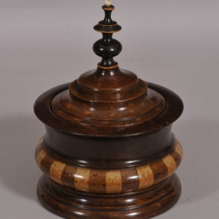 Antique Treen 19th Century Turned and Staved Tobacco Jar