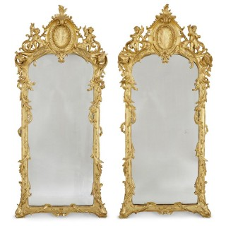 Two French Baroque style carved giltwood mirrors
