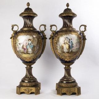 Pair of 19th Century French Sevres Style Vases
