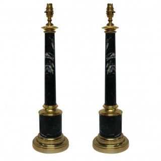 A PAIR OF GREY TUSCAN MARBLE COLUMN LAMPS