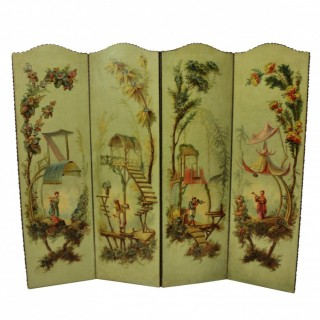A 1930'S HAND PAINTED CHINOISERIE SCREEN