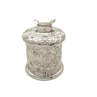 Antique Victorian Sterling Silver String Box / Holder 1900