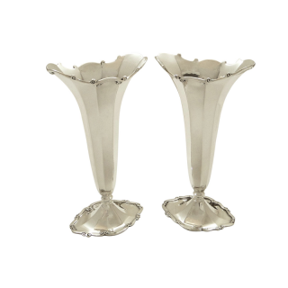 Pair of Antique Sterling Silver Vases 1912