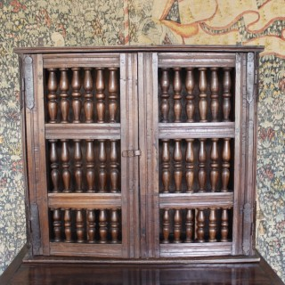 Charles I, Oak Spindle Mural Cupboard, Circa 1640.