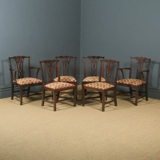 Antique English Set of Six 6 Georgian Chippendale Mahogany Dining Chairs (Circa 1800)