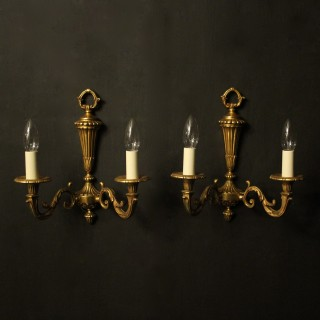 French Gilded Bronze Twin Arm Wall Lights