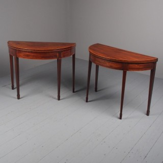 Pair (Matched) of George III Inlaid Mahogany Demi Lune Tables