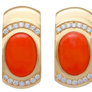 6.22ct Red Coral and 0.70ct Diamond, 14ct Yellow Gold Earrings - Vintage Circa 1970