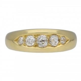 Victorian diamond five stone ring, circa 1880.