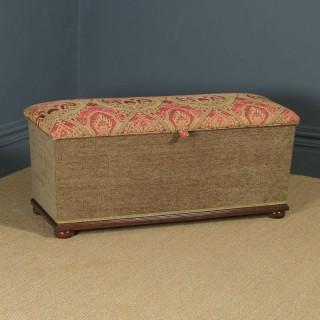 Antique English Victorian Mahogany Upholstered Ottoman Box Stool Trunk (Circa 1880)