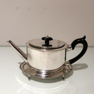 18th Century Antique George III Sterling Silver Teapot on Stand Newcastle 1784/86 John Langlands & John Robertson