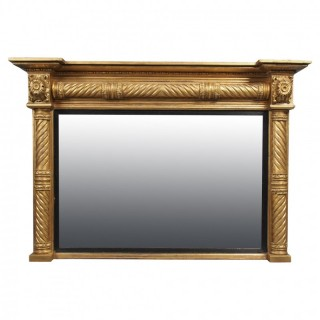 Regency Carved and Gilded Rectangular Overmantel Mirror