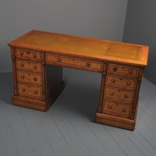 Victorian Birds Eye Maple Kneehole Pedestal Desk