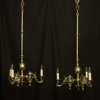 English Pair Of Triple Light Antique Gasoliers