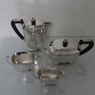 Sterling Silver Art Deco 4 Pc Tea & Coffee Set Sheffield 1942 Strong & Woodhatch
